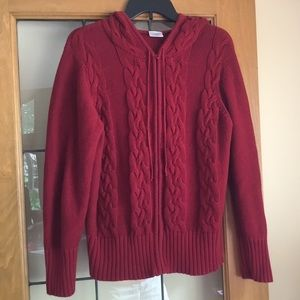Hooded cable knit maternity cardigan